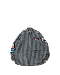 Oversized shirt with patches black