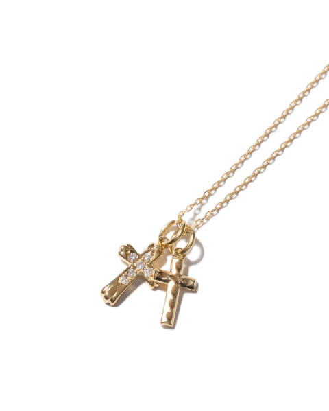 Double Cross Necklace - K18YG w/Diamond ダブルクロスネックレス LEON、Safari、 SENSE掲載