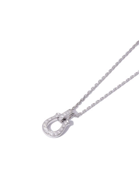Horseshoe Amulet Necklace - Silver w/CZ ホースシューアミュレットネックレス