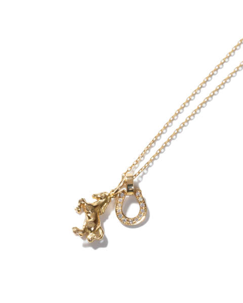 Small Horse & Horseshoe Necklace -K18Yellow Gold w/Diamondスモールホースアンドホースシューネックレス-K18