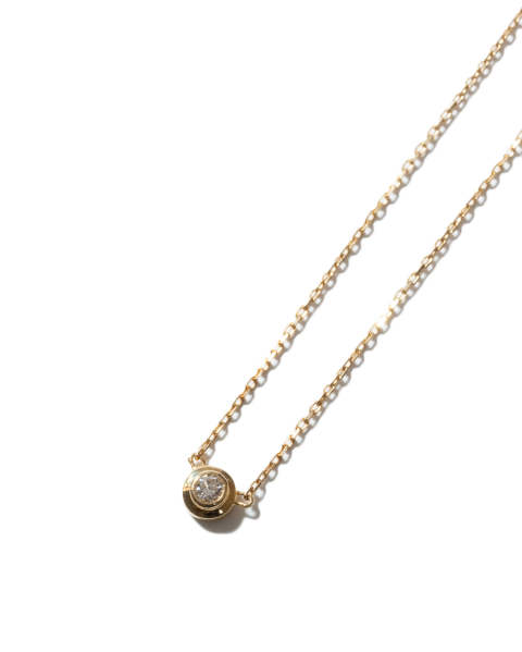 One Diamond Necklace K18 Yellow Gold With Diamond ワンダイヤモンドネックレス