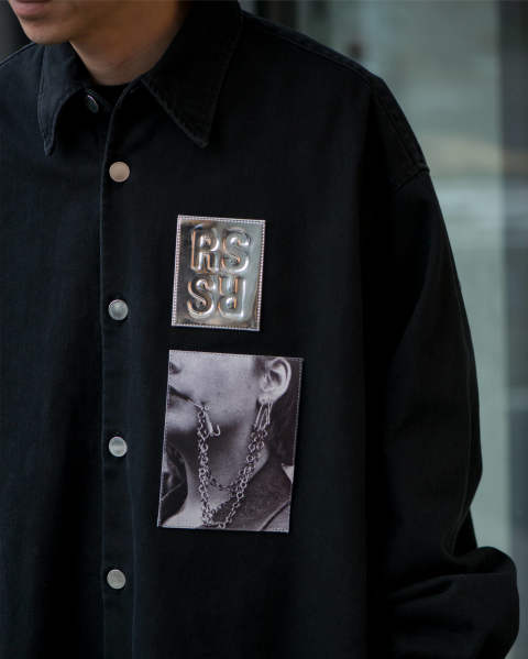 RAF SIMONS Big fit shirt with two patches Black